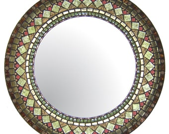 Round Mosaic Mirror - Brown, Green, Copper, Bronze, & Rose