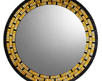 Gold & Black Round Mosaic Mirror