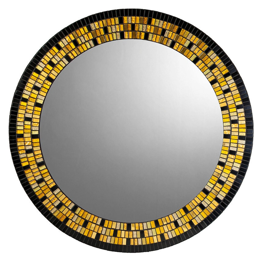 Gold black round mosaic mirror for Mosaic mirror
