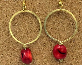 Queen Coral Hammered Hooped Earrings