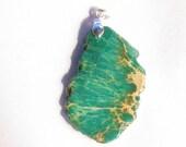 Green Jasper pendant sea sediment jasper gemstone focal silver plated bale
