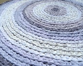 rag rug - lavender orchid purple round crochet recycled