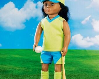 18 inch Doll Sports Uniform, Soccor, Volleyball, Baseball Uniforms Pattern, 18 inch Doll Biker Outfit Pattern, McCall's Sewing Pattern 6904