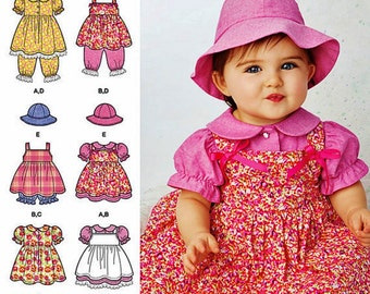 Toddlers' Pinafore Dress Pattern, Infants' Dress and Pantaloons Pattern, Sz Nb to 18 mo, Simplicity Sewing Pattern 1448