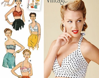 Misses Bra Tops Pattern, 1950's Vintage Halter Tops Pattern, Halter Top Pattern, Simplicity Sewing Pattern 1426