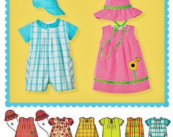 Baby Boy and Girls' Romper Pattern, Toddler Boy and Girls' Romper Pattern, Sz 7 to 24 lbs, Simplicity Sewing Pattern 1447