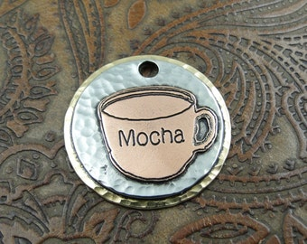 Coffee Cup Dog ID Tag - Pet ID Tag - Custom Dog Tag - Handmade Pet ID Tag