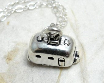 Tiny Camper RV Necklace, Sterling Silver Airstream Camper Charm on a Silver Cable Chain