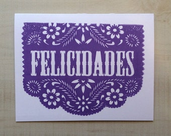 Papel Picado Felicidades Greeting Card, Spanish Card, Blank Note Card,  Spanish Language,