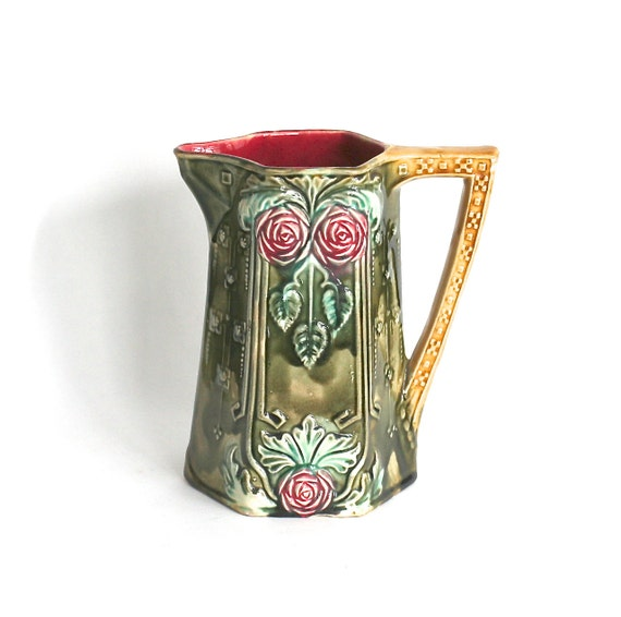 Frie Onnaing French Majolica Pitcher Breloques 776 Art Nouveau