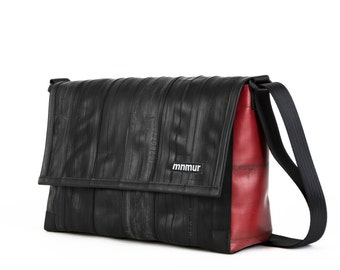 "Large Red and Black Messenger Bag - made from recycled bike tube // Fits up to 15"" laptop"