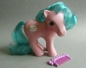 "Pink and Turquoise My Little Pony, Sundae Best Pony, ""Banana Surprise"", Hasbro Bradley, 1987 G1 Pony"