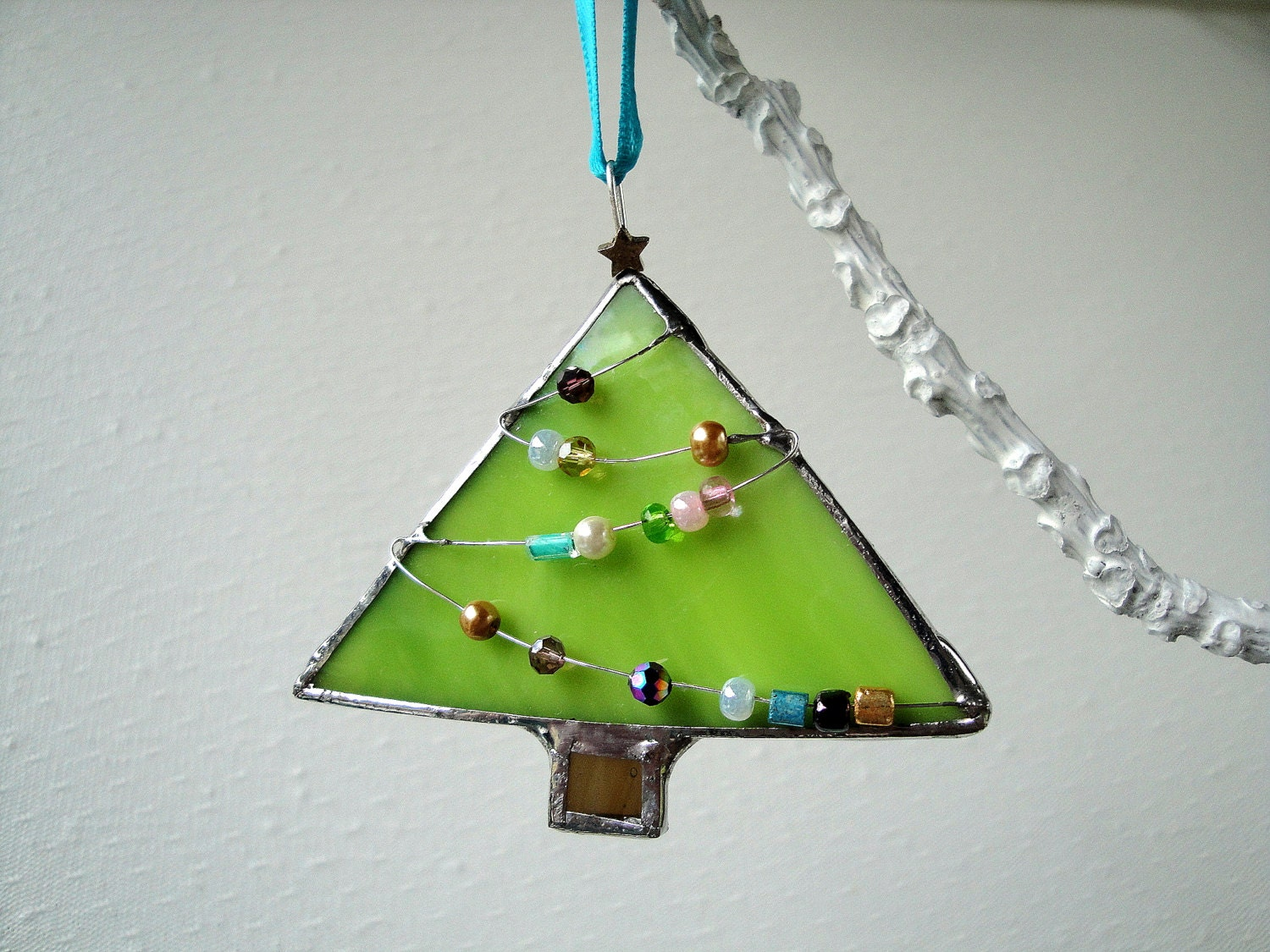 Ornament stained glass green christmas tree by