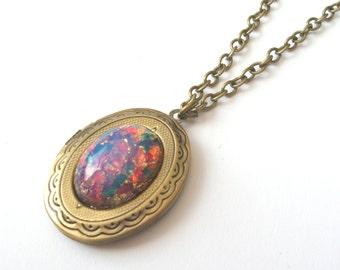 Harlequin Fire Opal Locket, Vintage Czech Glass on Antiqued Brass, Fire Opal Necklace, Locket Necklace