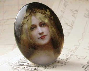 Art Nouveau Woman with Crown of Leaves, handmade 40x30 40x30mm 30x40mm 40 30 mm glass oval cabochon, yellow blonde hair
