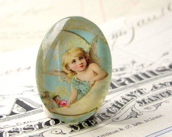 "Handmade glass oval ""Luna Angel"" cabochon 25x18mm 18x25mm 18 25 25x18 aqua blue, moon, cherub, glass cabochon, oval cabachon"