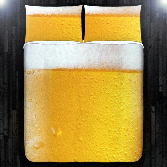 Men Drink Frothy Beer Bedding Duvet Cover Queen Comforter King