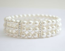 Pearl Wedding Bracelet 3 Strand Stretch Bracelet with Swarovski Cream OR White Ivory Pearls Rhinestone Cuff Bridal Bracelet