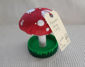 Sewing Caddy Mushroom Pin Cushion Spotty red and White Mushroom Craft Accessory