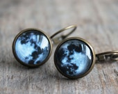 full moon. earrings. (antique brass. magnifying globe. black white gray. moon. astronomy picture circle.)