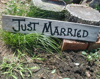 Just Married Rustic Western Bridal Wedding Sign Light Gray Barn Wood Photo Prop Ready to Ship