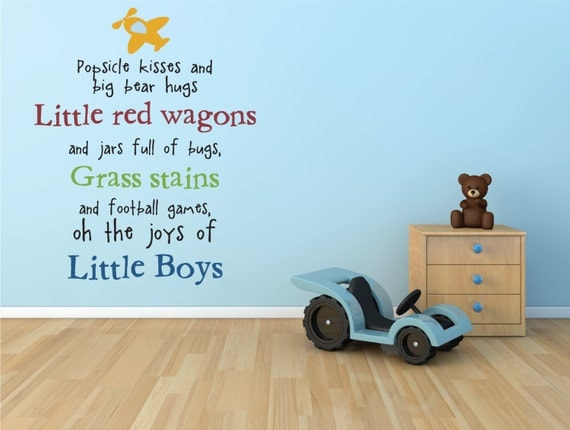 Oh the joys of little boys vinyl lettering wall decal