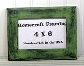4X6 Picture Frame Distressed Wedding Frame Wood Frame Green Black Shabby Chic Rustic