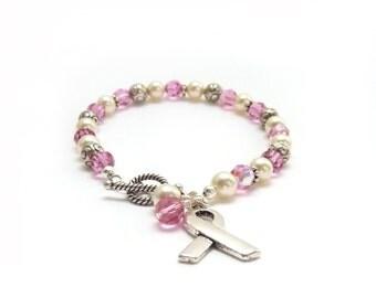 Breast Cancer Awareness Bracelet - Rose Pink Swarovski Crystals - Ivory Creme Pearls - Silver Ribbon - 50% Donation