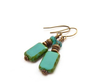 Turquoise Glass Earrings - Picasso Rectangle Beads - Simple Blue Earrings - Yoga Jewelry