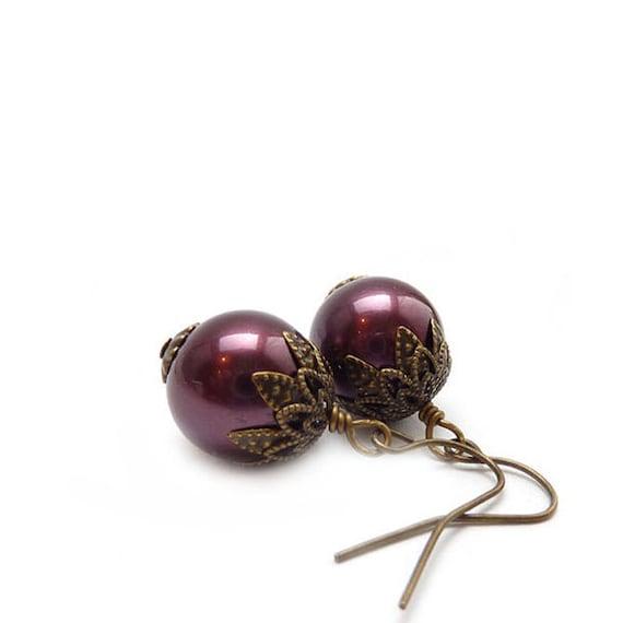 Classic Pearl Earrings - Bordeaux Wine Burgundy - Vintage Acrylic Pearls - Retro Earrings - Bridal Jewelry