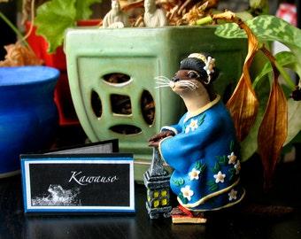 Kawauso - Japanese Yokai Otter Figurine - Handmade River Otter Art Doll- Shapeshifting Spirit - Bewilder and Pine