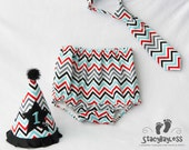 Red Black and Aqua Chevron First Birthday Cake Smash Outfit includes Hat, Diaper Cover, and Necktie with BLACK hat accent- by StacyBayless