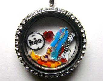 The Beatles Origami Inspired 30mm Rhinestone Locket with Charms