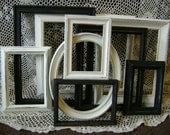 Picture Frame Assortment, Black & White Frames, Distressed, Upcycled