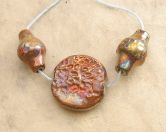 Raku Clay Beads - Honeycomb Texture Focal Set