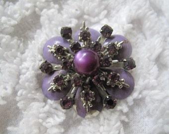 Amethyst  Moonstone and Rhinestone Enamel Mid Century Brooch Estate Jewelry
