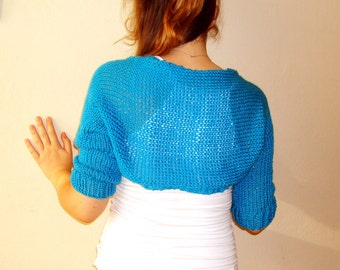 Turquoise blue Hand knitted bolero Jacket knitted sweater womens jacket knit shrug bolero