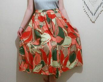 Vintage 80s Skirt Pleated Floral Skirt M L Vintage Skirt Leaf Tropical Printed Retro Skirt
