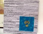 RESERVED for AJ : African Batik Fiber Art Wall Hanging - Sankofa Symbol