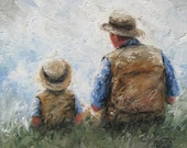 Father and Son Talk 12X24 Original Oil Painting dad and son paintings, fatherhood, little boy wall art, Vickie Wade Art