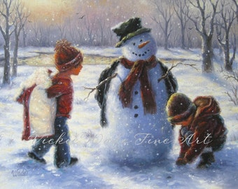 Snowman & Children Art Print snowman painting, children and snowman two kids, brother and sister winter snow wall decor, Vickie Wade Art