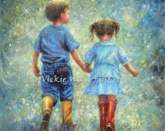 Twilight Walk Art Print big brother little sister holding hands moon stars, starry night, boy girl childrens wall art, Vickie Wade art