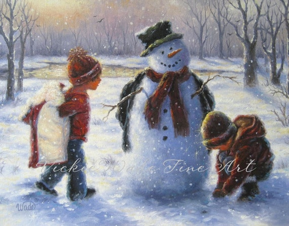 Snow Play Art Print Snowman Painting Boy And By