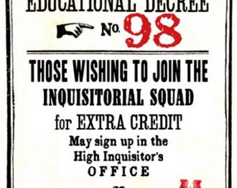 Educational Decree Wizarding Proclamation 98 (Inquisitorial Squad) printable .pdf file