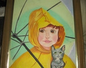 Vintage oil painting Little girl with umbrella   signed artist h Phillips
