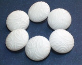 Vintage White Glass Buttons Wedding Buttons Paisley Raised Top Design 4 way metal box shank 18mm