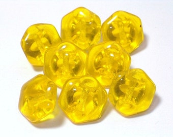 SALE Clear Lemon Yellow Transparent  Glass Buttons 11mm Set 8 Sewing Embellishment Buttons