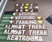 rustic wedding signs / 9 reception signs / wedding decorations /country weddings / wooden signs /w Stakes wedding signage / ceremony sign
