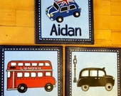 3 pc London Transportation art set for boys room