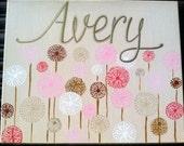 Dandelion garden personalized art for girls room